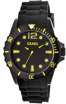 Crayo Unisex Fierce Black & Yellow Strap Watch