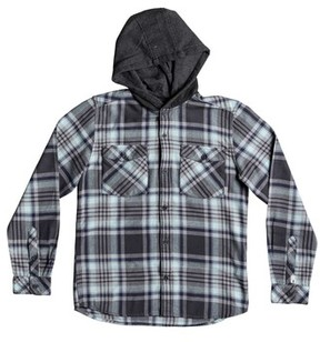 Quiksilver Boy's Hooded Tang Plaid Flannel Shirt