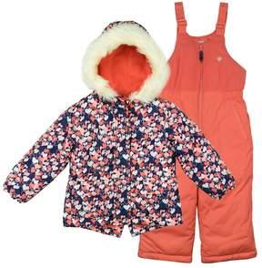 Osh Kosh Girls 4-8 Faux-Fur Trim Hood & Heart Patterned Heavyweight Jacket & Bib Snow Pants Set