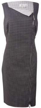 Calvin Klein Women's Asymmetrical-Zip Grid Pattern Dress