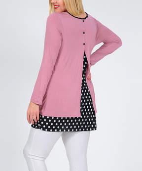 Celeste Dark Pink Polka Dot Back-Slit Tunic - Plus