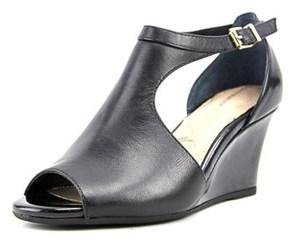 Giani Bernini Anwara Women Open Toe Leather Black Wedge Heel.