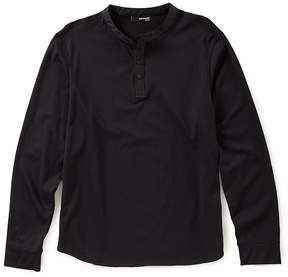 Murano Slim Nylon Trim Henley Knit Shirt