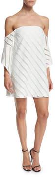Camilla And Marc Statice Off-the-Shoulder Striped Mini Dress, White