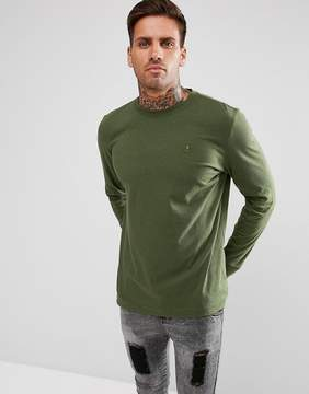 Psycho Bunny Long Sleeve Top Crew Neck Regular Fit in Green Marl