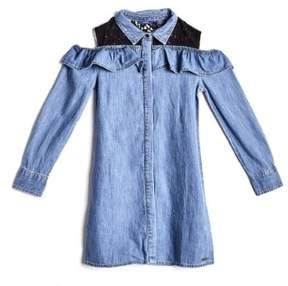 GUESS Cold-Shoulder Denim Dress (7-16)