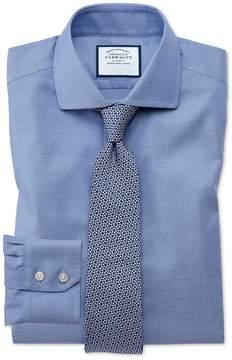 Charles Tyrwhitt Extra Slim Fit Spread Collar Non-Iron Cotton Stretch Oxford Mid Blue Dress Shirt Single Cuff Size 15/32