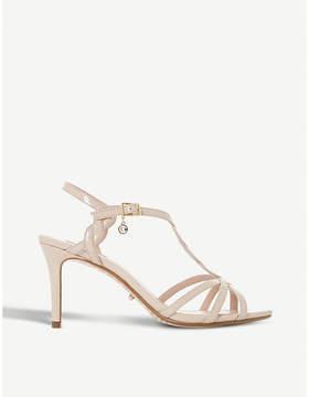 Dune Mystick patent mid-heel sandals