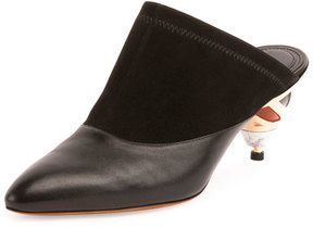 Givenchy Leather Mule Pump w/Sculpted Heel, Black