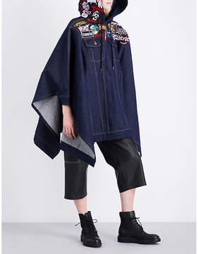 A.F.Vandevorst Badge-embroidered hooded denim poncho