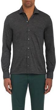 Isaia Men's Wool Jersey Button-Down Shirt
