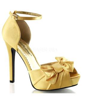 Unique Vintage Yellow Pleated Bow d'Orsay Pump Shoes
