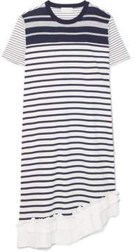 Clu Asymmetric Ruffle-trimmed Striped Cotton-jersey Dress - Navy