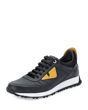 Fendi Monster Runner Spike-Back Leather Sneaker