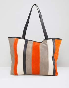 Asos Suede Color Block Stripe Shopper Bag