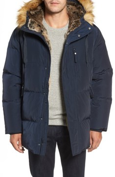 Andrew Marc Men's Quilted Down Parka With Faux Fur Trim