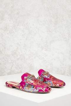Forever 21 Brocade Floral Loafer Mules