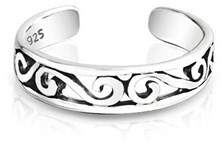 Celtic Bling Jewelry 925 Silver Mid Finger Ring Adjustable Swirl Toe Rings.