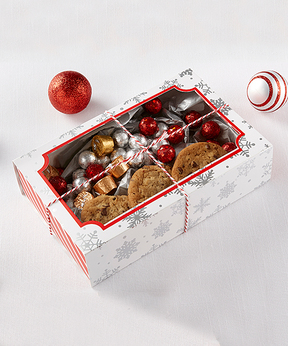 Silver Foil Snowflake Holiday Treat Box - Set of 12