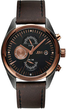 JBW The Woodall Mens Diamond-Accent Brown Leather Strap Watch J6300A
