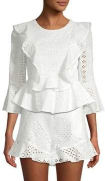 BCBGMAXAZRIA Cotton Eyelet Top