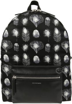 Alexander McQueen Peacock Feather Print Backpack