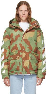Off-White Green Down Camo Diagonal Arrows Jacket