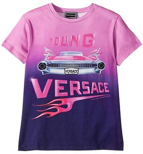 Versace Kids Short Sleeve Logo Car Graphic T-Shirt Girl's T Shirt