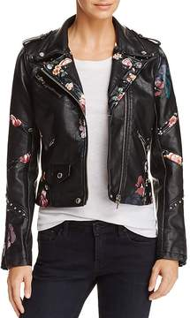 Blank NYC BLANKNYC Floral-Inset Faux Leather Moto Jacket - 100% Exclusive