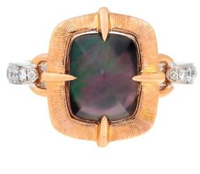 Frederic Sage 18k Pwg, Black Mop and Diamond Van Gogh Satin Cushion Ring
