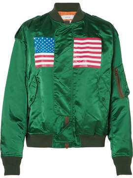 Facetasm Oversized Printed Satin Bomber Jacket - Emerald