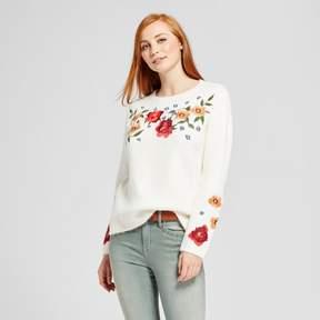 Cliche Women's Floral Embroidered Pullover Sweater White