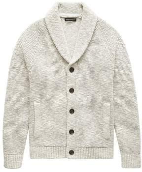 Banana Republic Cotton Waffle-Knit Shawl Cardigan Sweater
