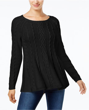 Charter Club Cable-Knit Trapeze Sweater, Created for Macy's