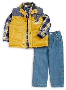 Nannette Little Boy's Three-Piece Button-Down Shirt, Puffer Vest And Denim Pants Set