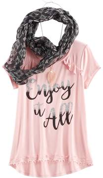 Self Esteem Girls 7-16 & Plus Size Ruffle Tee & Infinity Scarf Set with Necklace