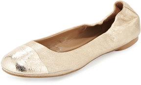 Delman Maya Metallic Ballet Flat, Platino