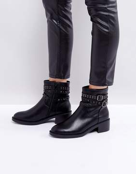 Glamorous Black Studded Flat Ankle Boots