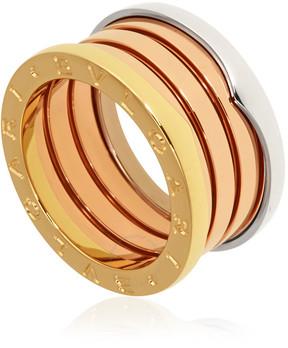 Bvlgari B.Zero1 18K Pink White and Yellow Gold 4-Band Ring Size 7.75