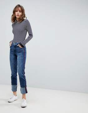 Esprit Contrast Stripe Straight Leg Jeans