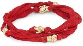 King Baby Studio Men's Skull Beaded Wrap Bracelet