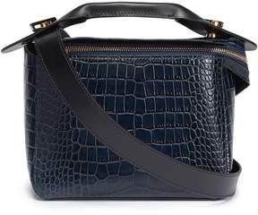 Sophie Hulme 'Bolt' small croc embossed leather shoulder bag