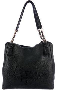 Tory Burch Pebbled Leather Tote - BLACK - STYLE