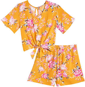Love, Fire 2-Pc. Floral-Print Top & Shorts Set, Big Girls