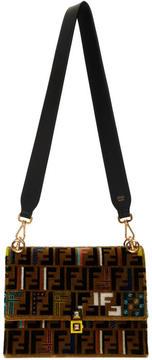 Fendi Brown Velvet Zucca Embroidery Kan I Bag