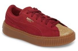 Puma Girl's Suede Platform Glam Ps Sneaker
