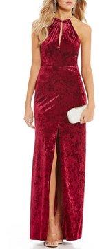 B. Darlin Keyhole Neckline Velvet Long Dress