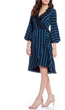 Isaac Mizrahi Imnyc IMNYC Gathered Puff Sleeve Lace Trim Wrap Dress