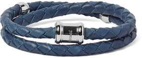 Miansai Double Casing Woven Leather Stainless Steel Bracelet