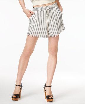 Astr Lupe Striped Fringe Shorts